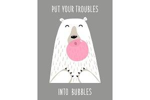 Cute hand drawn card as funny Bear