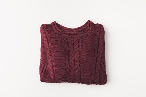 knitted burgundy sweater