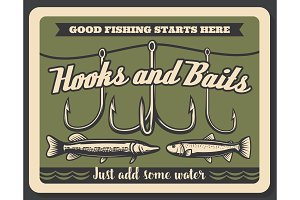 Fishing hooks and baits store vector