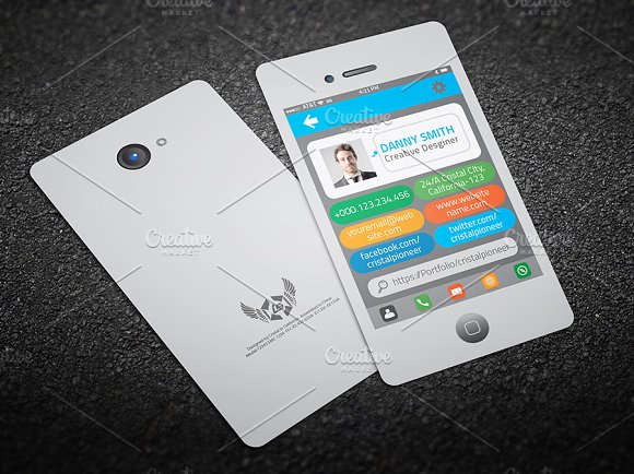Iphone style business card business card templates creative market reheart Gallery
