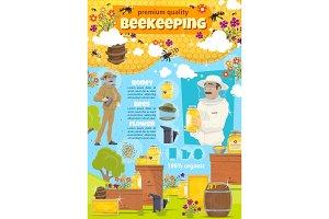 Beekeeping farm and beekeeper