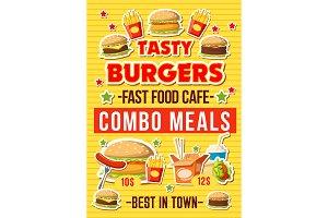 Fastfood burgers restaurant menu