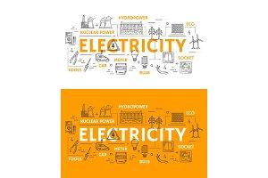 Electricity, powerб energetics icons