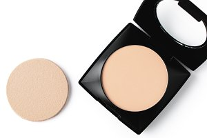 top view of compact powder and spong