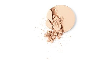 top view of cosmetic powder isolated