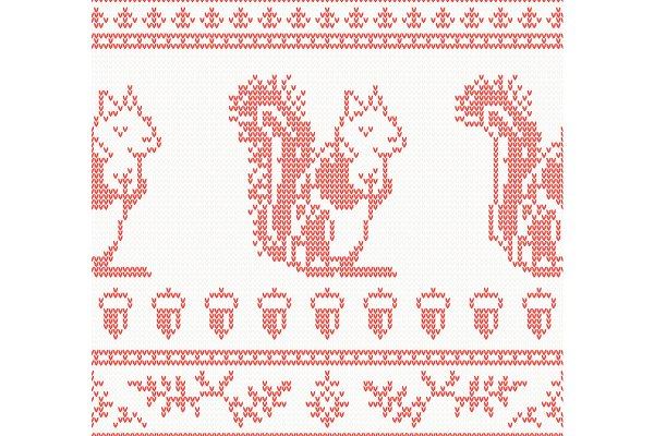 Knitted Squirrel Seamless Pattern