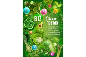 Green diet detox vitamins food