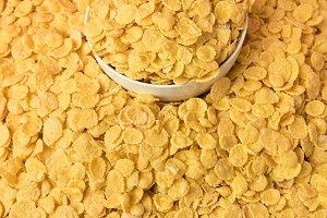 close-up view of tasty crispy corn f
