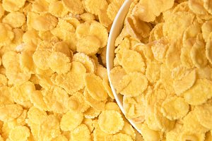 top view of tasty crispy corn flakes