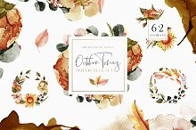 October Tones Watercolor Clipart Set by  in Illustrations