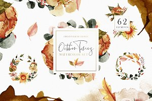 October Tones Watercolor Clipart Set