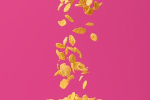 close-up view of tasty corn flakes f