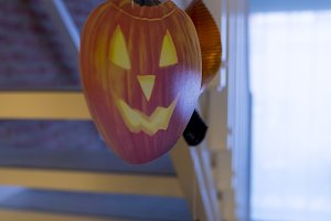 Halloween paper garland with pumpkin