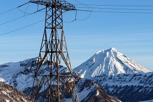 High voltage power line in mountain