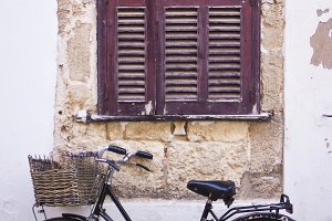 bicycle with basket at the street of