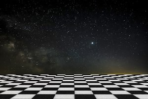 sky and chess floor