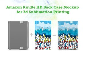 Amazon Kindle HD Back 3d Case Mockup