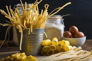 Assortment of homemade fresh egg pas