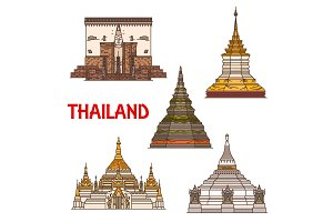 Thai travel landmark icons, vector