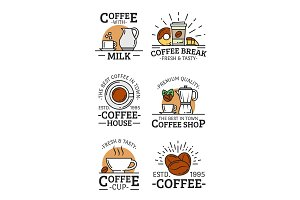 Coffee vector liear icons with cup