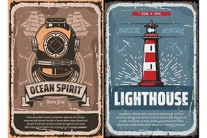 Nautical lighthouse, diver helmet