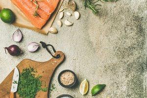 Raw salmon fillet, variety of salts