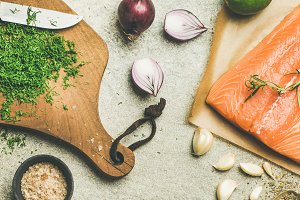 Cooking salted salmon fish with