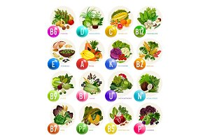 Vitamins in fruits, nuts, vegetables
