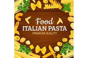 Italian pasta frame of macaroni