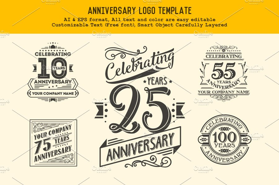 Anniversary Logo Template ~ Logo Templates ~ Creative Market