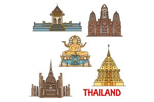 Thai landmarks. Ancient temples