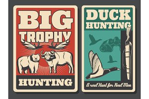 Hunting retro posters