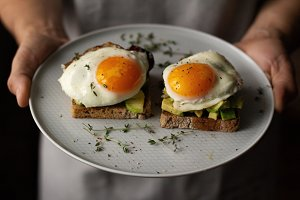 toast with avocado and egg on a plat