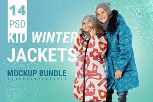 Kid Winter Jackets Mockup Set