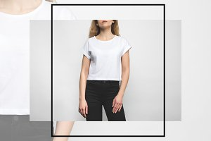young woman in blank t-shirt on whit