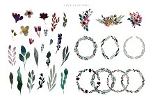 Moody Watercolor florals, clip art by  in Illustrations