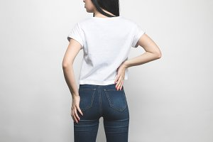 back view of attractive young woman