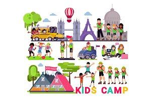 Kids camp vector children camper