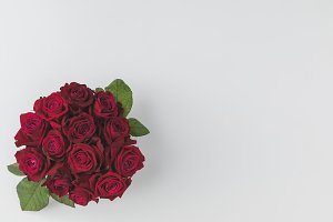 top view of bouquet of red roses iso