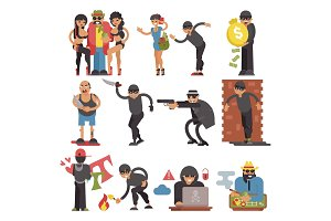 Criminals vector burglars or burglar