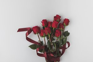 top view of beautiful red roses with