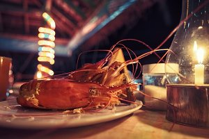Dinner at restaurant with lobster