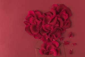 top view of heart made of roses peta