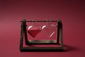 heart shaped glass jar with perfume