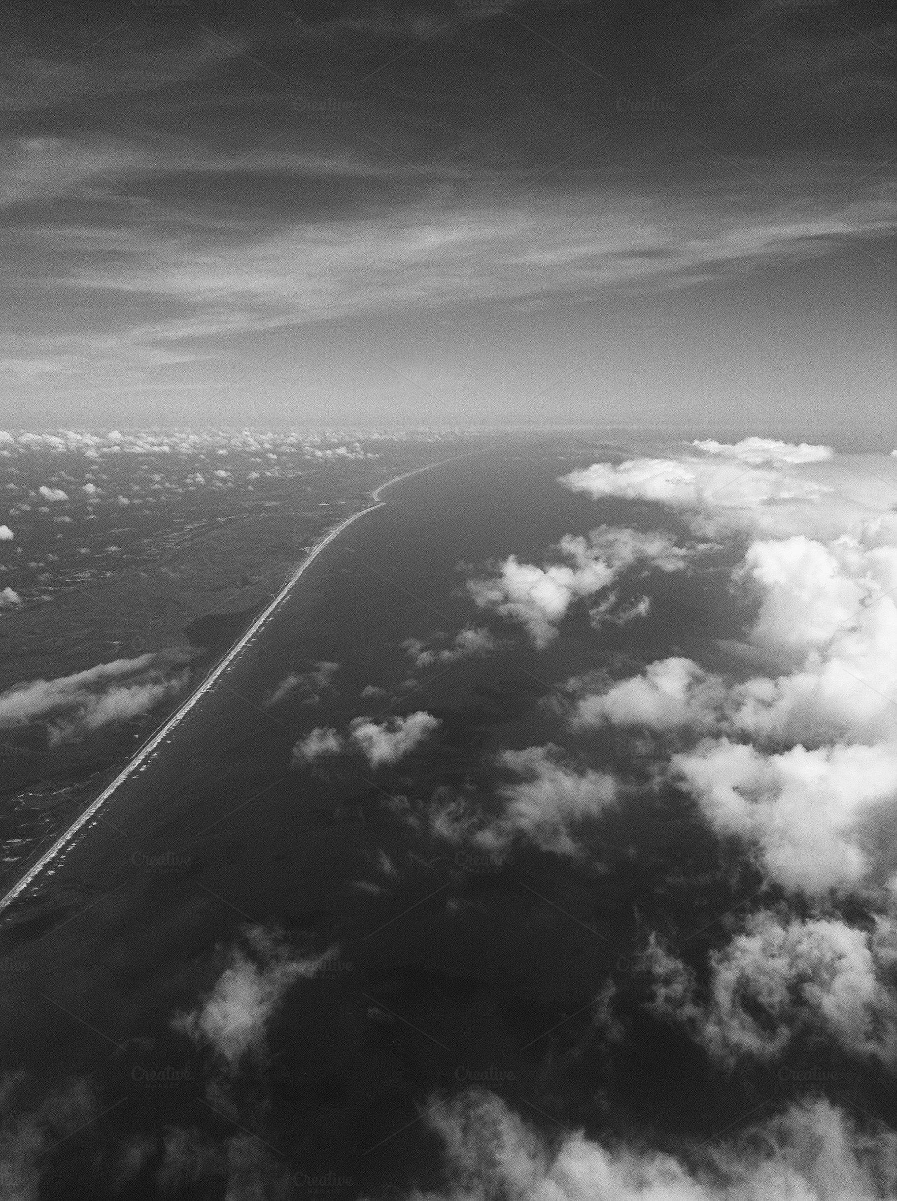 Moody skies oceanic coastline