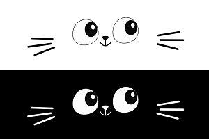 Cat eyes, moustaches. Cute face.