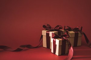 close up view of three gift boxes de