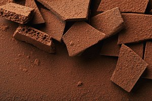 close up view of heap of chocolate b