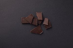 top view of dark chocolate bars on g