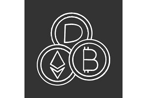 Cryptocurrency chalk icon